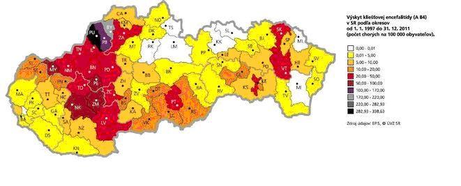 výskyt kliešťov na Slovensku